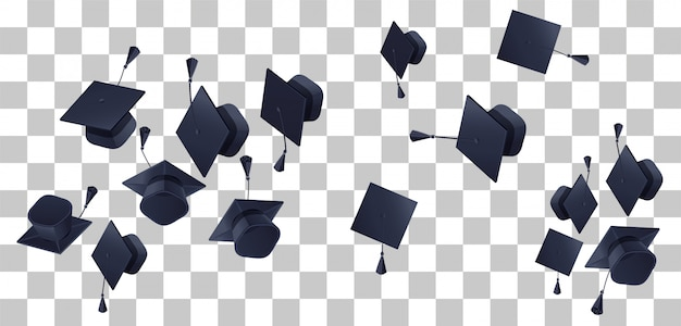 High school graduation fly up on transparent background Premium Vector