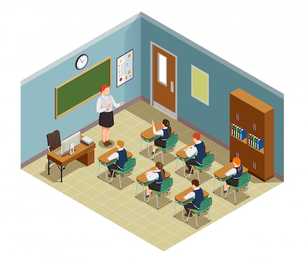 High school isometric people composition with class room interior and characters of female teacher and students illustration Free Vector