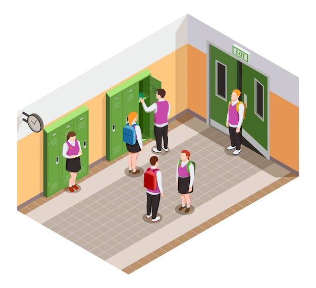 High school isometric people composition with human characters of students in hallway during time of break illustration Free Vector