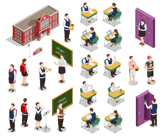 Raccolta isometrica delle icone della gente della high school con i caratteri umani degli insegnanti e degli studenti con l'illustrazione dell'edificio scolastico Vettore gratuito