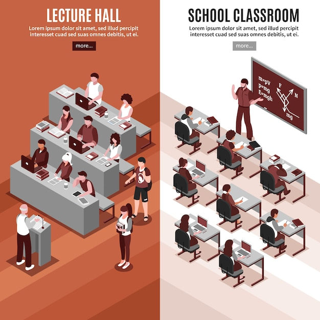 High school isometric vertical banners Free Vector