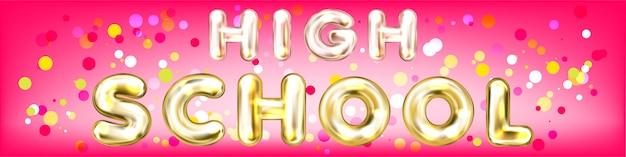 High school pink panorama banner Premium Vector