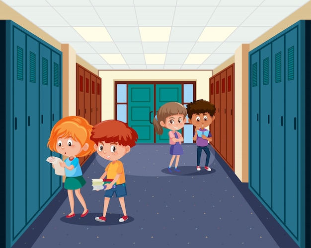 High school student at hallway Premium Vector
