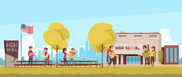 High school territory with educational building students during communication on blue sky background cartoon Free Vector