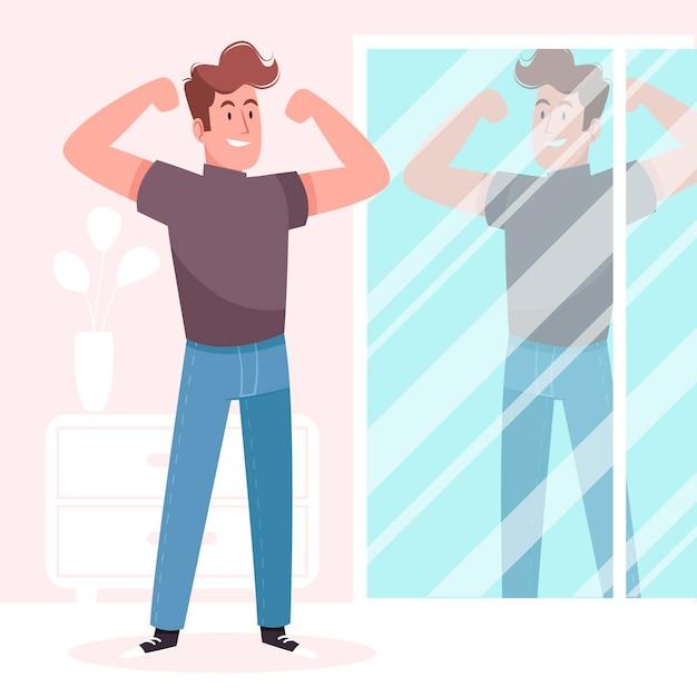 Illustrazione di alta autostima con uomo e specchio Vettore gratuito