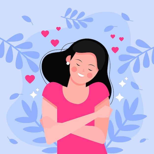 Иллюстрация высокой самооценки с женщиной и листьями Бесплатные векторы