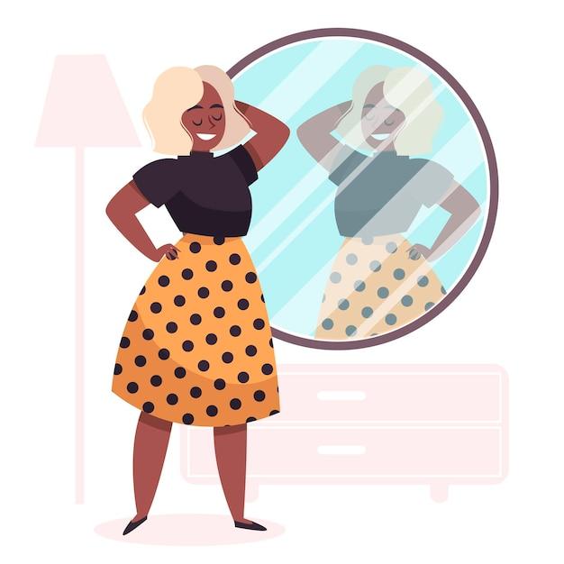 Illustrazione di alta autostima con donna e specchio Vettore gratuito