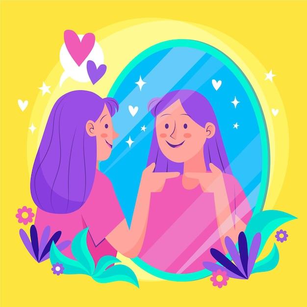 High self-esteem illustration Premium Vector