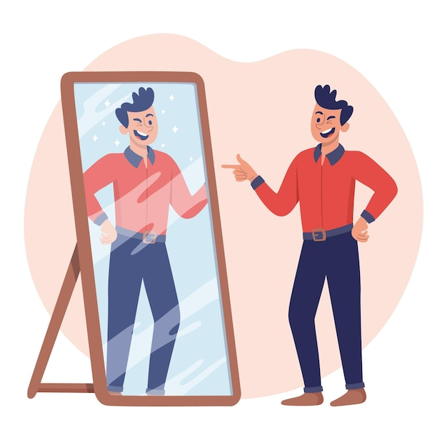 High self-esteem illustration Free Vector