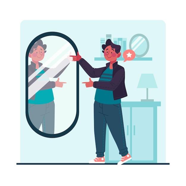 鏡を見ている高い自尊心の男 Premiumベクター