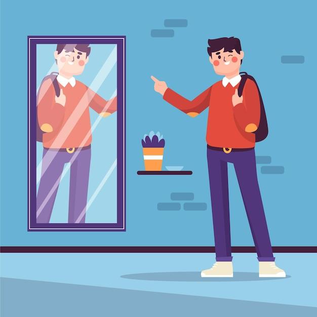 男と鏡との高い自尊心 無料ベクター