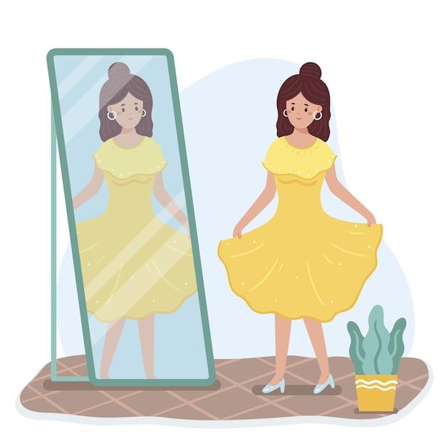 女性と鏡との高い自尊心 無料ベクター