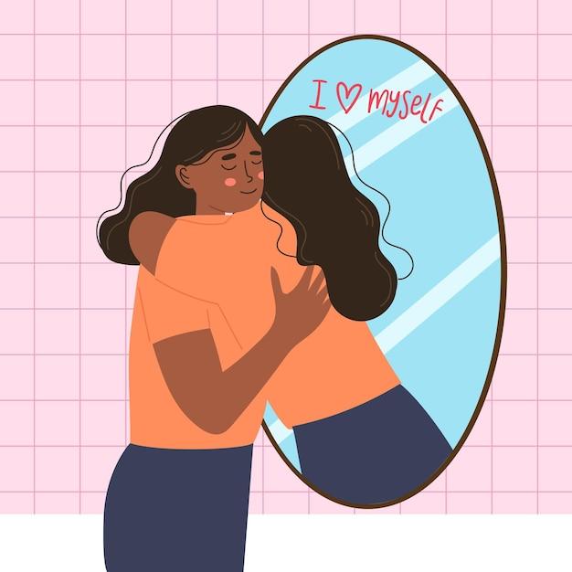 여성과 거울에 대한 높은 자존감 무료 벡터
