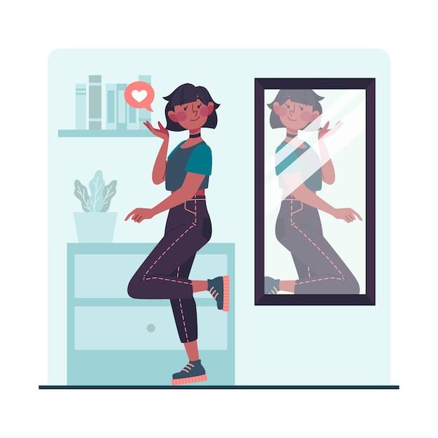 鏡を見ている高い自尊心の女性 Premiumベクター
