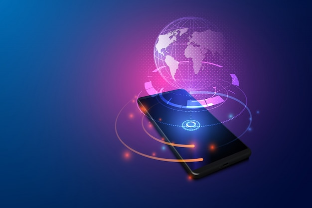 High speed communications with world wide web from anywhere in world via phone mobile internet. Premium Vector