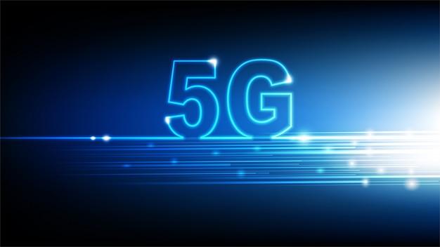 青い抽象的な未来的な背景、イラストと高速インターネット5 gテクノロジー Premiumベクター