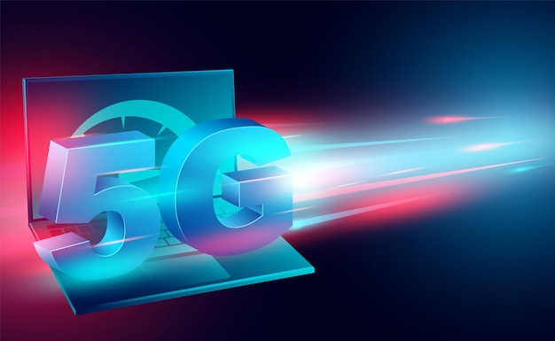 High speed internet concept network on computer laptop broadband networks speed isometric Premium Vector