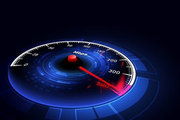 High speed internet connection ideas, speedometer and internet connection Premium Vector