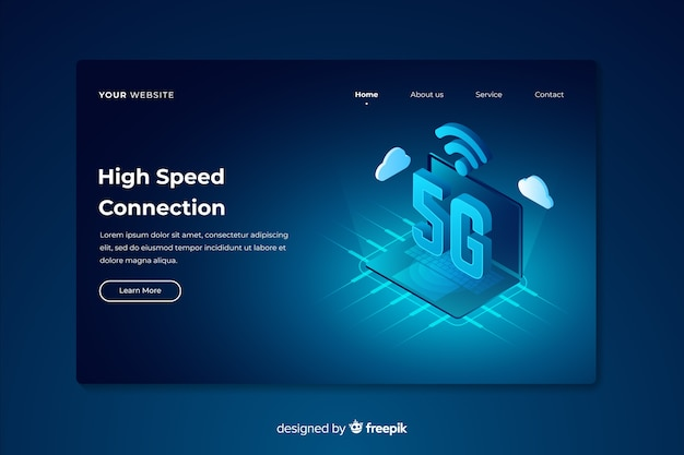 High speed isometric 5g landing page Free Vector