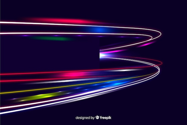 High speed lights trail design background Free Vector