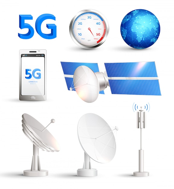 High speed mobile internet realistic set with satellites and smartphone with title 5g isolated Free Vector