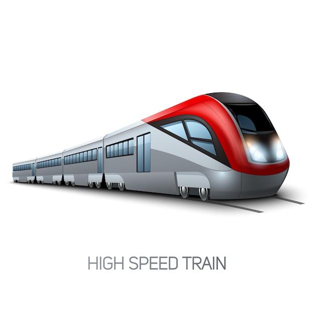 High speed realistic modern train locomotive on railroad Free Vector
