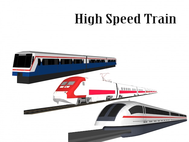 High speed train and electric train Premium Vector