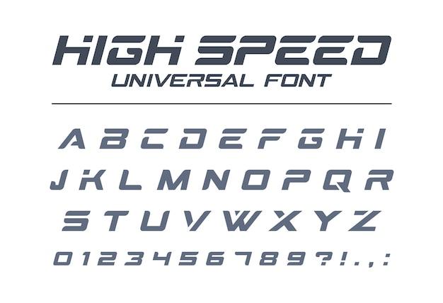 Высокоскоростной универсальный шрифт. быстрый спорт, футуристический, технологичный, будущий алфавит. буквы и цифры для военных, промышленных, электрических гоночных логотипов. современный минималистичный шрифт Premium векторы