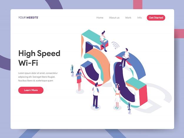 High speed wi-fi landing page Premium Vector