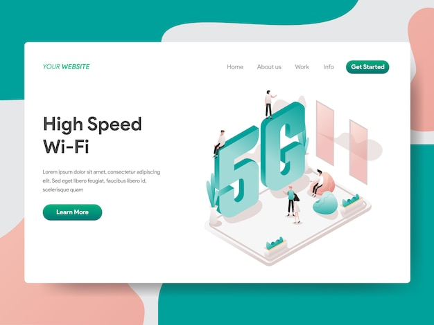 High speed wi-fi for web page Premium Vector