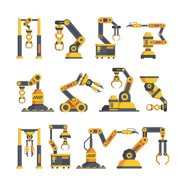 Набор высокотехнологичных роботизированных оружий плоских векторных иллюстраций Premium векторы