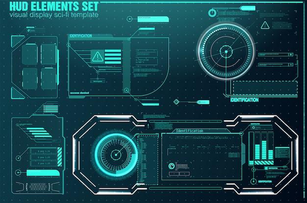 Высокотехнологичный экран для видеоигр. научно-фантастический концептуальный дизайн. блоки квадратных рамок устанавливают элементы интерфейса hud. Premium векторы