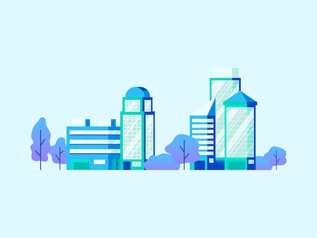 High technology office buildings vector Free Vector