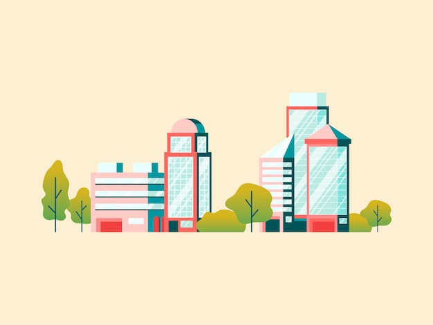 High technology office buildings Free Vector