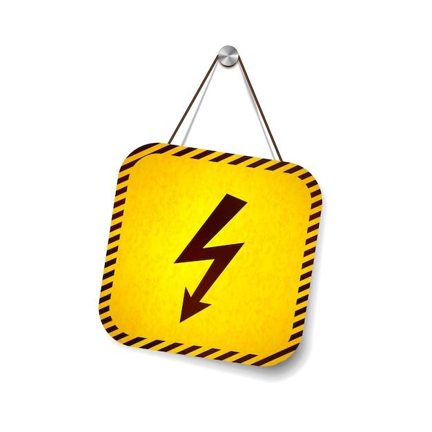 白で隔離されるロープにぶら下がっている高電圧グランジ警告サイン Premiumベクター