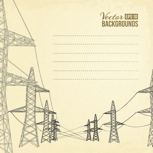 High voltage power lines. Free Vector