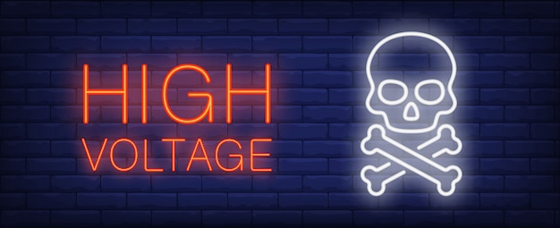 High voltage red and white neon style lettering. death sign on brick background. Free Vector