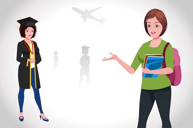 Higher education in abroad Premium Vector