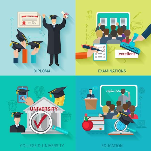 Higher education flat set Free Vector