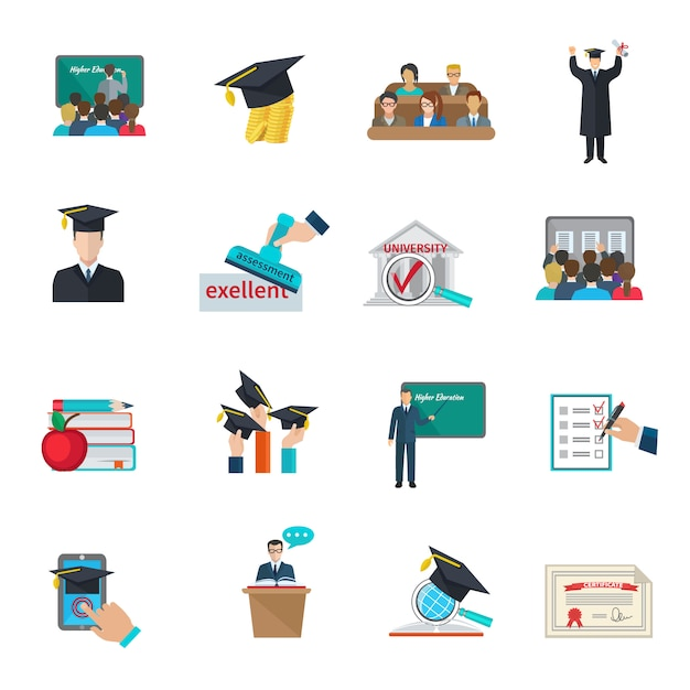 Higher education and graduation with cloaks and academic caps icons set Free Vector