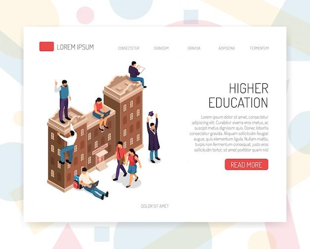 Higher education institutions career colleges universities campus academic degrees professional certificates isometric concept website design vector illustration Free Vector