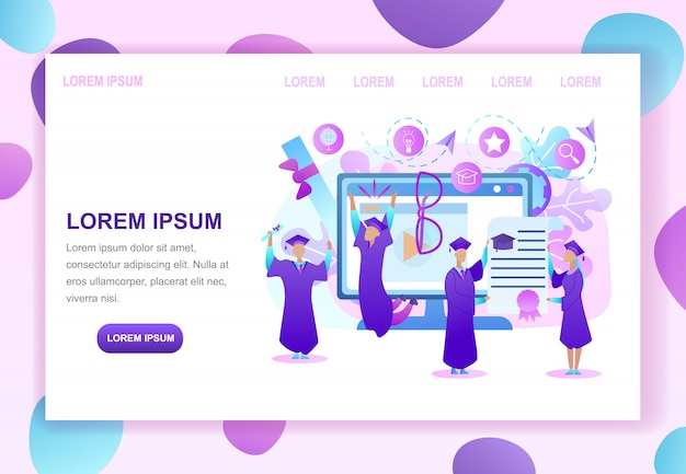 Higher education in internet web page template Premium Vector