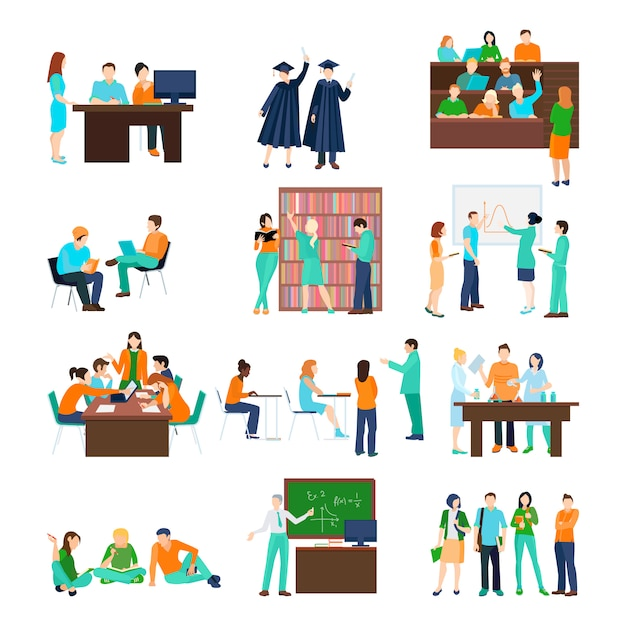 Higher education person set of students in different situations Free Vector