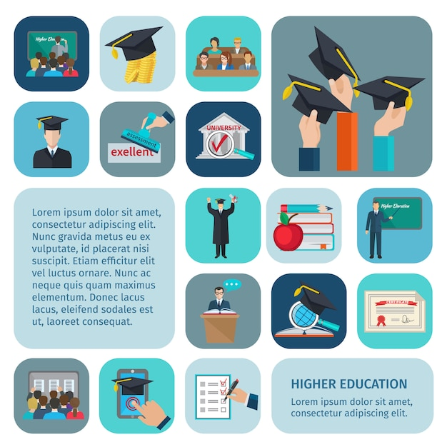 Higher education with examination and learning symbols isolated Free Vector