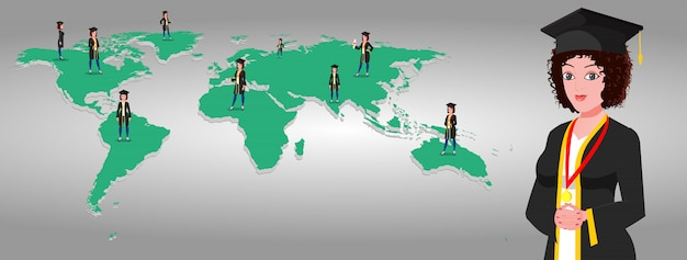 Higher education in the world Premium Vector