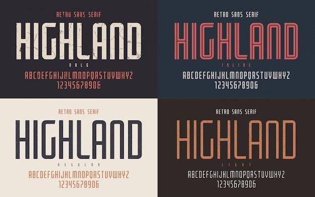 Highland condensed bold inline regular и светлый ретро Premium векторы