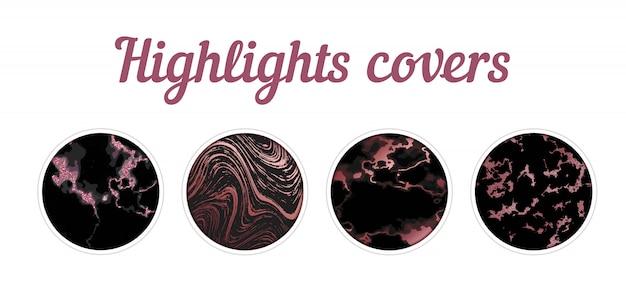 ハイライトカバーの大きなセット、最小限のピンクの大理石のテクスチャバックグラウンドコレクション Premiumベクター
