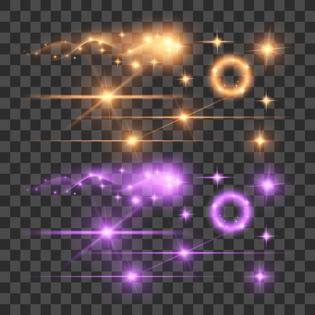 透明な背景に花火グローレンズフレア発光蛍光照明ライトを強調表示する Premiumベクター