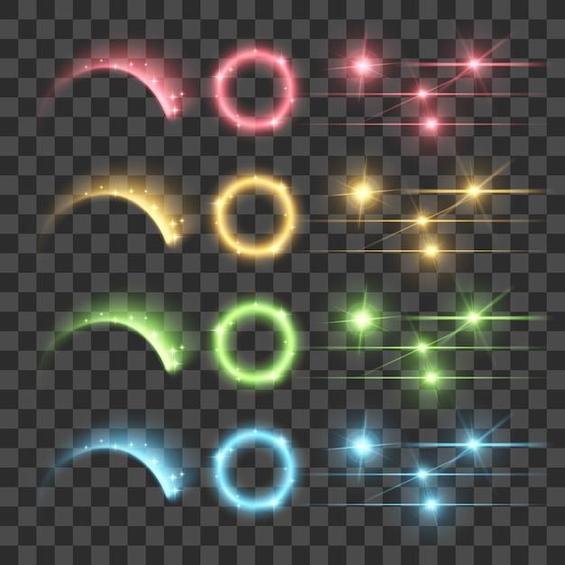 花火グローレンズフレア発光蛍光照明ライトを強調表示します Premiumベクター