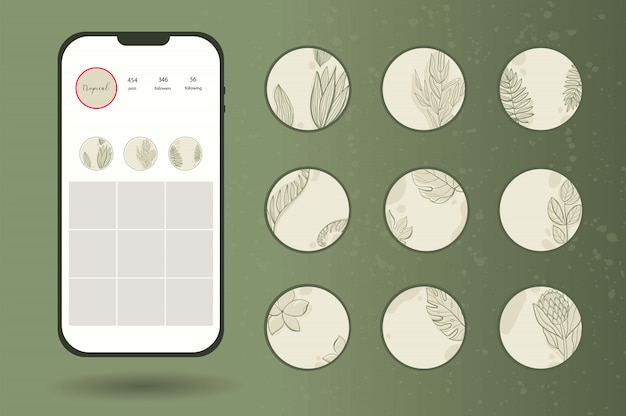Instagram 이야기 열대 나뭇잎에 대한 아이콘을 강조 표시하십시오. 프리미엄 벡터